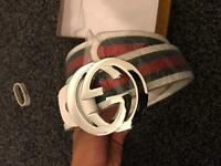 White Gucci Belt. BOXED