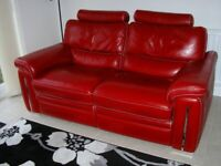 2 off RED LEATHER 2 SEATER RECLINER SOFAS