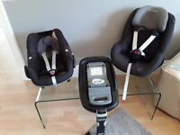 Pebble and Pearl car seats with Family Fix Isofix Base