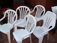 Five White Plastic Outdoor Leisure Chairs - Light Weight and Durable