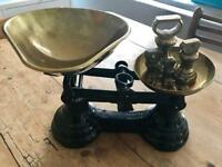 Antique Vintage Librasco Cast Iron Kitchen Scales with full set of Brass bell weights