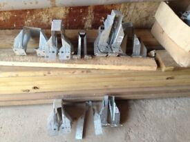 box od assorted sized joist hangers 34 in total