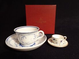 Charming Miniature Cups & Saucers 1x In Box By Villeroy & Boch 1x By Coalport