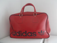 Rare 1980s Vintage Red Adidas Peter Black Sports Holdall Bag Retro Mod Weekender Hip Hop Breakdance