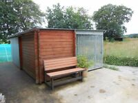 Log Cabin Kennel with fully enclosed large run