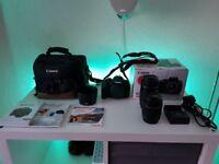 Canon 700D with 2 x lenses,bag,lens hood