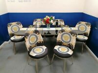 💖💖STOCK CLERANCE SALE😍😍 ON VERSACE DESIGN EXTENDABLE DINING TABLE AND 6 CHAIRS