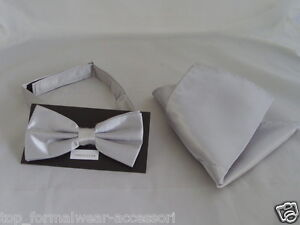 Shiny-SILVER-Polyester-Bow-Tie-and-Hanky-Set-Matching-Cummerbund-are-Available