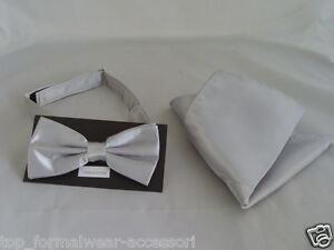 Shiny-SILVER-Bow-Tie-Hanky-Set-Matching-Cravat-Cummerbund-R-also-Available