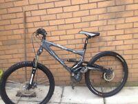 Saracen raw mountain bike full suspension fully working order 26inch frame