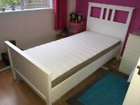 Ikea Hemnes White single bed and Hamarvik matress