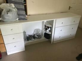 Large white desk and drawers