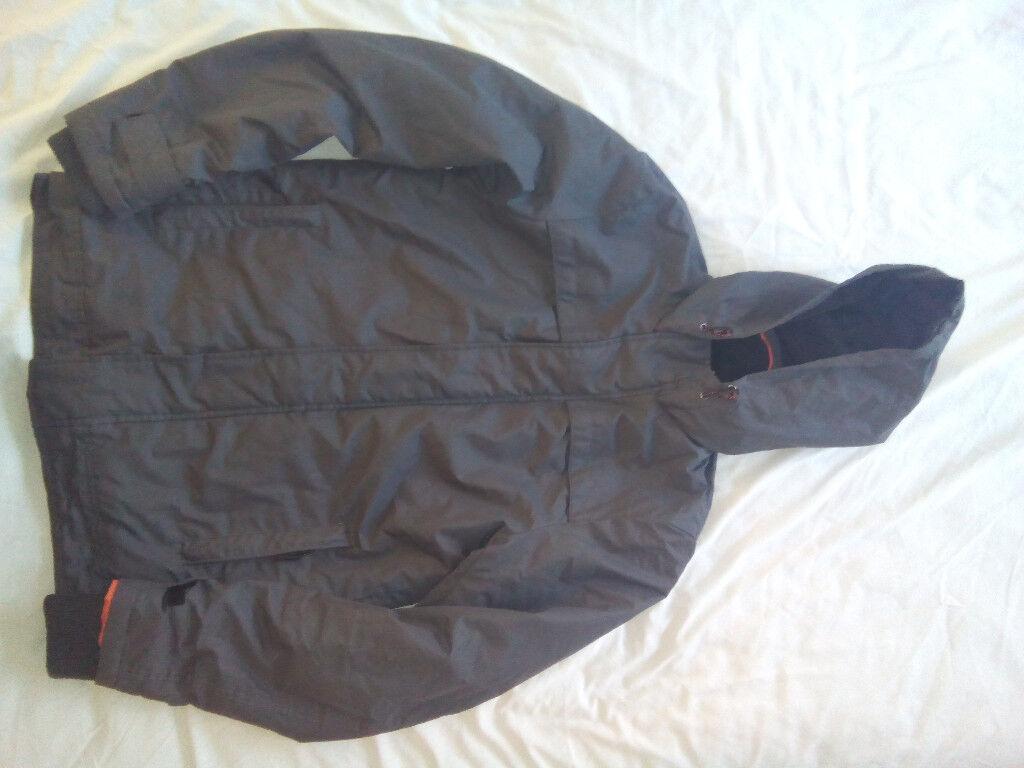 "Mens XSmall (34""chest) dark grey/orange hooded coat."