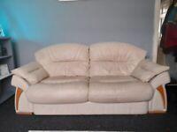 3 seater + 2 seater cream leather sofas