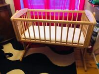 Baby bed Mothercare - swinging crib, natural wood, with mattress