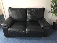 Real leather black sofa