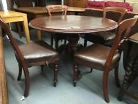 ** ANTIQUE VICTORIAN DINING TABLE & CHAIRS **
