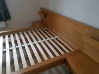 Ikea Malm double bed frame with side tables