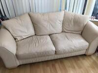 Cream leather sofa 3 seater & 2 Seater