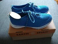 New ladies casual lace-up Earth Spirit blue leather shoes or trainers