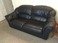 3 Seater Black Leather Sofa for sale