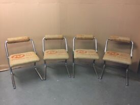 Set of 4 Vintage Style Chairs Upholstered with Coffee Sack Hessian