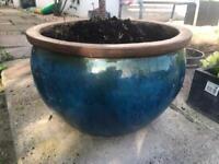 BLUE GLACED TERRACOTTA GARDEN PLANT POTS 2 MEDIUM 1 LARGE