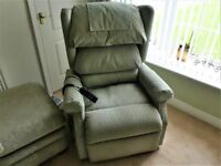 Electric riser recliner chair with waterfall back.