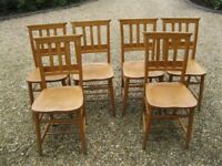 SET OF 6 CHURCH / CHAPEL CHAIRS. Delivery possible. MORE AVAILABLE, ALSO KITCHEN / DINING TABLE.