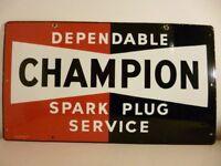 Champion Spark Plug Enamel Sign.