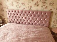 Superking bed frame pink crushed velvet