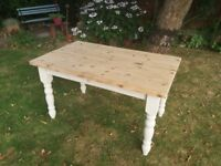 Refurbished solid pine farmhouse dining table with a cutlery draw