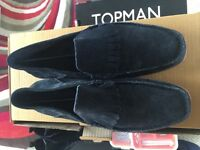Blue Loafer Shoes - Suede