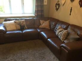 Chestnut Brown Corner Leather Settee