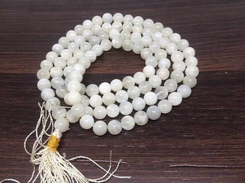 Natural 8mm White Rainbow Moonstone Mala with 108 Prayer Beads - JP546