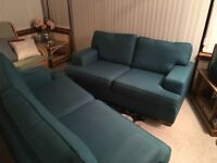 3 seater + 2 seater sofas & box footstool
