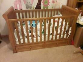 East coast langham solid oak sleigh bed crib cot for toddler or child