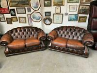 Superb pair of brown leather Chesterfield 2 seater sofas UK delivery