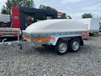 BRAND NEW 8.10 FT x 4.3 FT TWIN AXLE TEMARED ECO TRAILER WITH FULLY LOCKABLE ABS HARDTOP 750KG