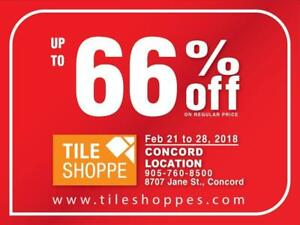 TILE SHOPPE CONCORD SALE (Up to 66% off on regular price) Marble,Porcelain,Ceramic,Laminate,Hardwood,Engineered wood