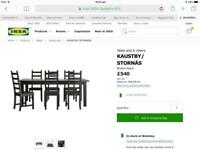 Table and six chairs black - Ikea Kautsby