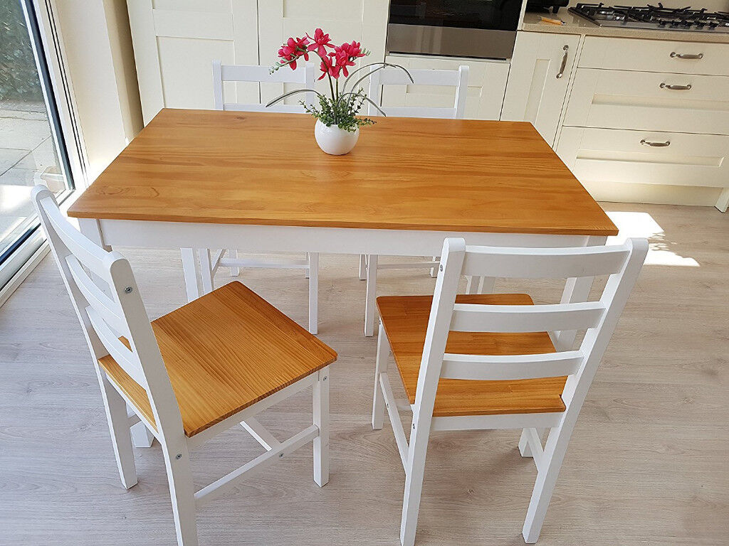 brand new Country-style-white-wooden-Dining-Table-and-4-Chairs-Set-Furniture