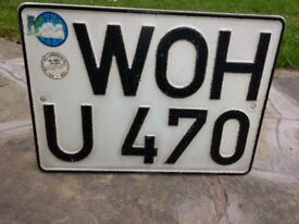 """WOH U"" VINTAGE WEST GERMAN CAR / CARAVAN Metal Number plate HESSEN Region 1970s"
