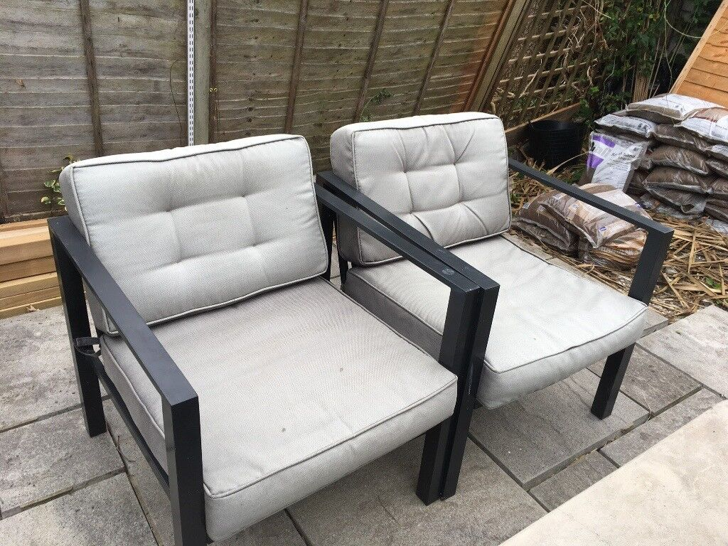 Garden furniture - concrete table, sofa and two arm chairs ...