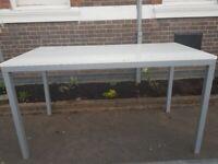 High office/meeting table/desk, white gloss finish