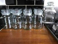 9 glass jars with airtight lids