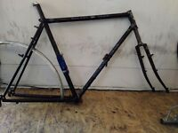 """Bicycle frame, Dawes Galaxy Touring, Reynolds 531 double butted rubing, 23"""" needs repair"""