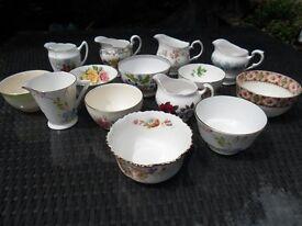 Vintage Milk Jugs & Sugar Bowls for Wedding Table Afternoon Tea Garden Party Floral Original Vintage