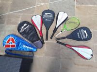 8 GOOD QUALITY TENNIS RACQUETS WITH COVERS FOR SALE