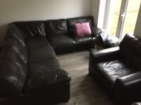 Large leather corner sofa and arm chair
